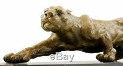 Figurine Animale en Bronze XXL Panthère sur Marbre Signé Milo