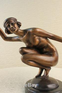 Figurine Bronze Sculpture Statue Signe Gory Superbe Nudiste Marbre Solde