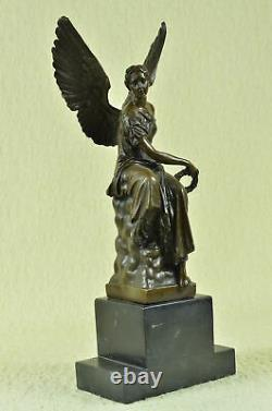 Figurine Bronze Sculpture Statue Signe Houdon Beau Ange Marbre Base Solde