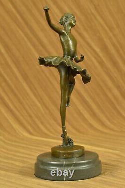 Fonte Bronze & Marbre Figurine Fille Ballerine Signé Sculpture Figurine Cadeau