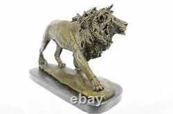 Fonte Sculpture Signée Bronze Royal Lion Statue Buste Marbre Base Décor