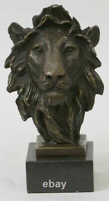 Fonte Signé Bronze Royal Lion Statue Sculpture Buste Marbre Base Bust Cadeau