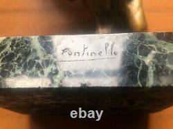 Fontinelle Louis (1886-1964) Serre Livres En Bronze Sur Marbre Signés