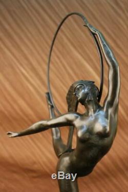 Français Signée Morante Boucle Danseuse Bronze Sculpture Art Déco Marbre Base