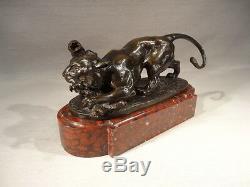 G. Engrand Ancien Bronze Animalier Panthere Singe Gruet Fondeur Socle Marbre