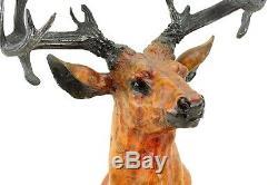 Grand Cerf Buste Figure en Bronze sur Marbre Signé Bonheur
