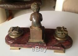 Grand Encrier Bronze et Marbre Putti Souris signé Lemire Susse Fréres