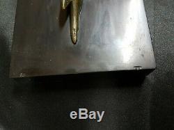 Grand Faisan En Bronze Sur Marbre Noir Art Déco Non Signé H 32cm L 87cm P 17cm