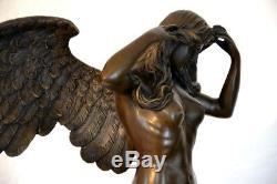 Grand Figure en Bronze Bronze Ange Signé Weinmann sur Base en Marbre