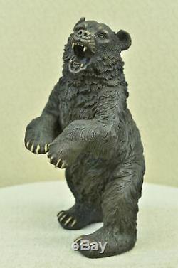 Grand Signé Art Déco Noir Ours Bronze Sculpture Marbre Statue Figurine Figurine
