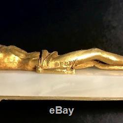 Gustave Joseph Debrie Debut XXe Crucifix Christ En Bronze Doré Signé Sur Marbre