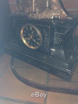 Horloge Bronze Signe Socle Marbre