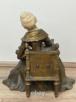 Important Style Art Nouveau Bronze Marbre Assis Femme Sculpture Par