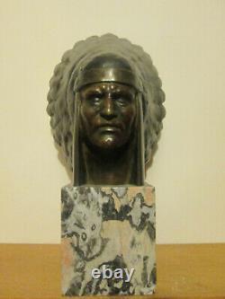 Imposante Sculpture Art Deco 1930 Buste Chef Indien Coiffe Bronze Marbre Signe