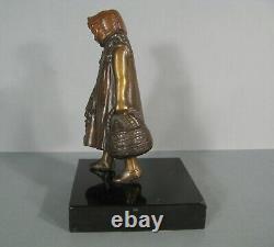 Jeune Fille Au Panier Sculpture Bronze Ancien Style Monginot Patrouilleau