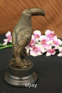 Joli Signé Oiseau Véritable Pure Statue Bronze Sur Marbre Sculpture Figurine