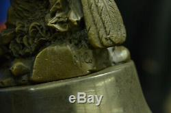 Joli Signée Oiseau Original Pure Bronze Statue Sur Marbre Sculpture Décor