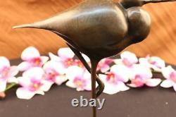 Joli Signée Oiseau Original Pure Bronze Sur Marbre Base Figurine Art Déco