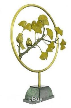 Joli Signée Oiseau Original Pure Bronze Sur Marbre Figurine Sculpture Statue