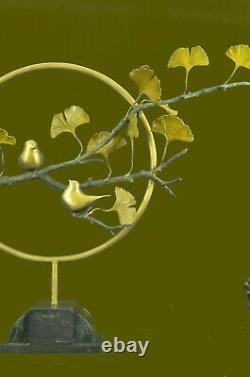 Joli Signée Oiseau Véritable Édition Limitée Marbre Bronze Sculpture Statue