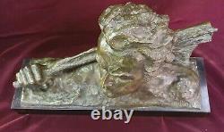 Joli buste en bronze sur socle marbre de Jean Mermoz, signé Ouline