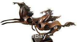 Kubistische Bronze Chevaux Sur Marbre, Nachguss Avec Signature Milo, Abstrait