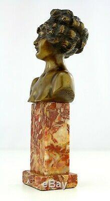 LOUIS CHALON Ancien bronze doré patiné Marbre Sculpture Buste femme 1900 signé