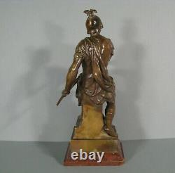 La Vaillance Sculpture Guerrier Antique Bronze Ancien Signé Émile Picault