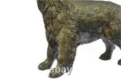 Labrador Chien D'Arrêt Oiseau Chasse Bronze Marbre Sculpture Signé J. Moigniez