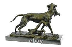 Labrador Retriever Chasse Chien Bronze Marbre Sculpture Signé p. Leccourtie