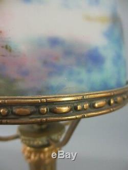 Lampe bronze signé marbre Sienne Obus Pâte de verre Müller Art Déco H41 cm