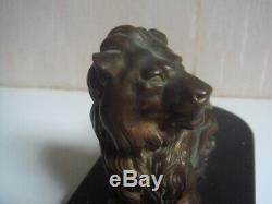 Lion en bronze 16 cm x 7 cm support marbre signé barye