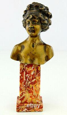 Louis Chalon Ancien Bronze Doré Patine Marbre Sculpture Buste Femme 1900 Signé