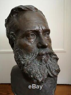 MOREAU VAUTHIER, AUGUSTIN (1831-1893) BUSTE EN BRONZE ÉPOQUE XIXè SOCLE MARBRE