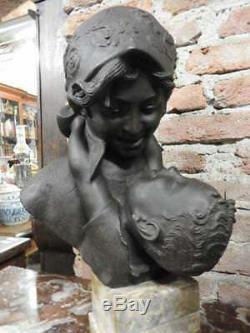 Magnifique Sculpture Bronze Câlin de la Maman Signé Merente sur Base Marbre