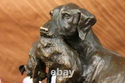 Main Bronze Massif Chaud Fonte Statue Doré Retriever Signé Art Déco Marbre