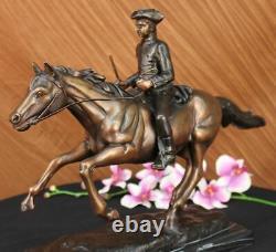 Marbre Cheval Sur Soldat Français Mene Pj Signée Fait Bronze Sculpture Art