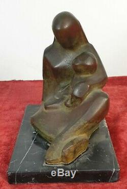 Maternité Sculpture En Bronze. Base De Marbre. Medina Ayllon. XX Siecle