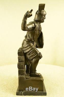 Médiévale Knight sur Cheval Bronze Statue, Signé Sculpture Marbre Figurine