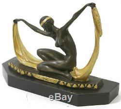 Mirval Écharpe Danseuse Signée Bronze Marbre Ballet Russe Folies Bergere Déco