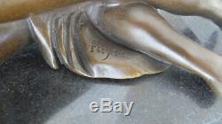 Nu Avec Gazelle Sur Base en Marbre, 100% Bronze, Nachguss Avec Signature