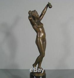 Nue Féminin Ève A La Pomme Diane Sculpture Ancienne Bronze Signé Otto Rasmussen