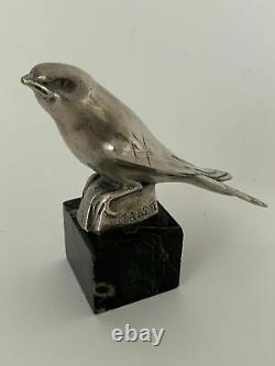 Oiseau En Bronze Argente Signe Jean Et Joel Martel Base En Marbre Noir H3649