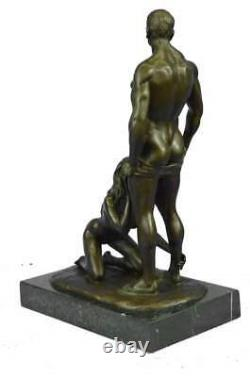 Original Sculpture en Bronze Erotique Plaisir Oral Socle Marbre Signée J. Mavchi