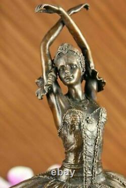 Original Signé Marron Patine Prima Ballerine Bronze Sculpture Marbre Figurine