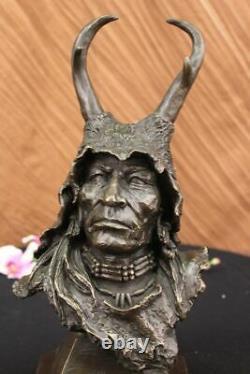 Original Signé Milo Japonais Viking Guerrier Bronze Sculpture Marbre Statue Sale