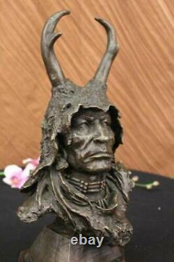 Original Signé Milo Native Américain Bronze Sculpture Marbre Statue Affaire