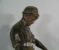Ouvrier Fondeur Métallurgiste Ancienne Sculpture Bronze Signé Ludwig Eisenberger