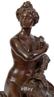 PUECH Denys (1854-1942) & Susse Nu assis Bronze signe sur marbre jaune