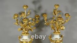 Paire De Chandeliers Louis XVI Signés Delarue à Paris, Marbre Et Bronze Doré XIX